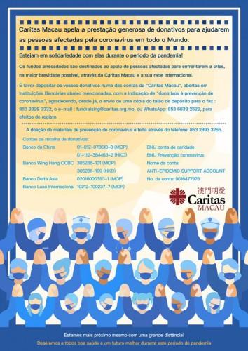 Caritas Macau apela a prestação generosa de donativos para ajudarem